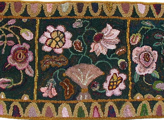 Peony And Roses rug hooking pattern