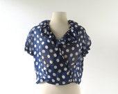 Vintage 1930s Blouse   Polka Dot Top   30s Blouse   L XL