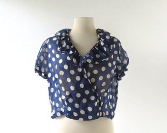 Vintage 1930s Blouse | Polka Dot Top | 30s Blouse | L XL
