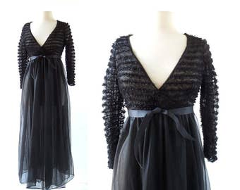 Vintage Sheer Negligee | 1960s Peignoir | Lace Dressing Gown | XXS XS