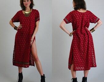 India Dress Vintage Sheer Burgundy Textured Floral Draped Boho India Sari Dress (m l)