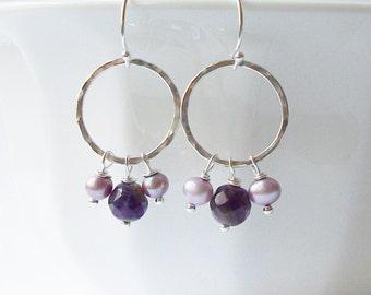 Natural Amethyst Purple Sterling Silver Dangle Earrings