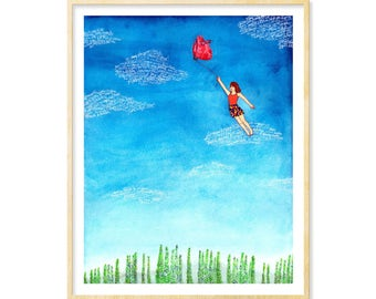 Anatomical Heart, Her Dorm Wall Print, Dorm Decoration, Watercolor Print, Anatomy, Surreal, Love Gift, Love Print, Blue, Fantasy Art, 11x14