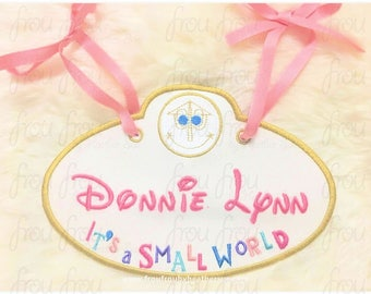 """Digital Embroidery Design Machine Applique Small Globe Ride Stroller Name Tag  IN THE HOOP Project 4""""-16"""""""