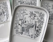 "Arabia Finland ""Emilia"" Pattern Snack Plates, Raija Liisa Uosikkinen Design, Scandinavian Modern Dinnerware, Nordic Decor, Mid-century China"