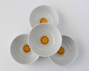 Georges Briard Florette Bowls, Flower Power China, Mod Vintage Bowls, Retro Vintage Bowls, Ice Cream Bowls, Floral Pattern China, Florette