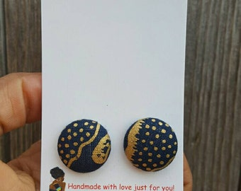 Fabric button earrings gifts for her, Button earrings, Blue and gold fabric earrings, Button fabric earrings, Blue button earrings, Button