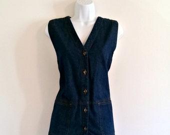 Vintage 90s Grunge Blue Denim Vest - Size M