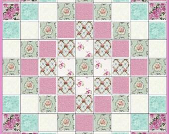 Gorgeous Pink~Rose~Aqua~Quilt Kit~Floral~Trip Around the World~Fabric~QK#31