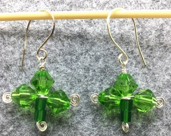 Shamrock Earrings with Green Crystals and  Silver Spirals