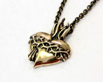 Sacred Heart Necklace in Solid Bronze 227