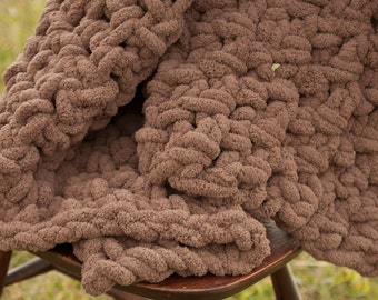 Afghan crochet chunky throw, crochet blanket, Chocolate Brown