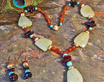 Freeform Chalcedony Nuggets with Hessonite Garnet, Turquoise, and Black Amber ~ Statement Necklace and Earring Set - 14Kt GF Jewelry Set