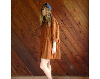 Oversized Clay Brown Artists Tunic Mini Dress - Vintage 90s - OS