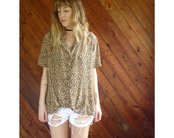 Silk s/s Cheetah Printed Button Down Shirt - Vintage 90s - L
