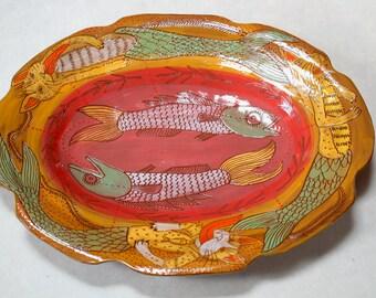 Mermaid Cat Platter, handpainted ceramic plate