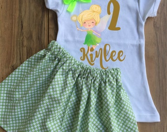 Personalized Tinkerbell Birthday Skirt Set - Tinkerbell Tutu - Tinkerbell Outfit - Tinkerbell Dress - Tinkerbell Shirt