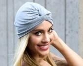 Soft Turban Hat Chemo Hat Fall Accessory Tichel Hair Covering Hijab Beanie Beret Head Wrap Gray Packable Turban Front Twist Turban Doo Rag