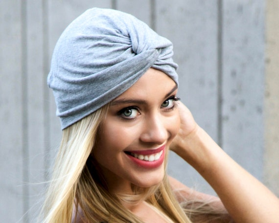 Soft Turban Hat Chemo Hat Fall Accessory Tichel Hair Covering Hijab Beanie Beret Head Wrap Gray Packable Turban Front Twist Turban Doo Rag