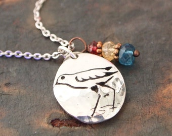 Sandpiper and Gemstone Necklace