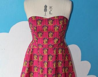 harry potter gryffindor sweet heart dress - all sizes - hogwarts school houses