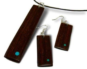 Handmade Rosewood Pendant Necklace and Earring Set - Wood Jewelry - Rosewood
