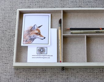 Animal notecard set animal card fox card wolf card buffalo card deer card watercolor painting Blank variety animal painting
