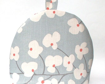 Tea Cosy - John Lewis Wallflower Slate Grey - Tea Pot Cozy - Retro Floral, Blue Grey, White and Orange, with striped lining