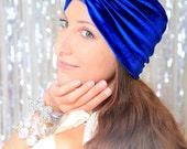 Velvet Turban - Women's Fashion Hair Wrap in Royal Blue - Bohemian Style Hair Accessories