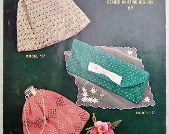 Vintage Knitting Pattern 1950s Women's Handbags Purses Evening Bags Beaded Purses Clutch Bag 50s original pattern Sirdar No. 1645 UK