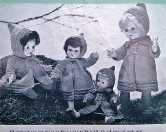 Knitting Pattern Vintage 1950s Dolls Clothes to fit 10 12 14 and 16 inch dolls - 50s original pattern Patons 585 UK - dolls clothing layette