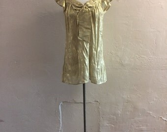 Gold Lamé Top - ruffly sleeve top - bow front top - sheer top - rouched sweater - 1970's vintage top