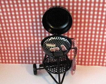 dollhouse barbecue, barbecue, black barbecue, miniature barbecue, ,dollhouse miniature, garden,