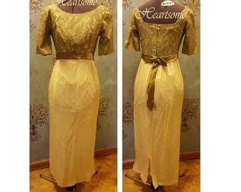 Maxi mod dress gown mid century 60s 70s yellow olive lace long formal
