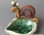 Hungry Snail on a Leaf Ceramic Dish Sculpture RESERVED for Patsy