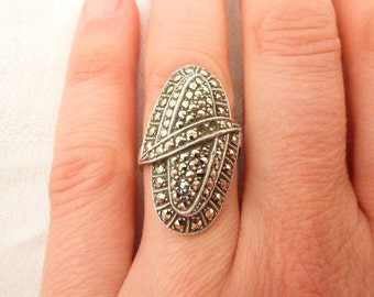 Vintage German Art Deco Sterling Silver and Marcasite Ring Size 6 1/2