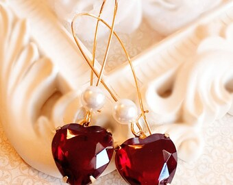 Best Heart Earrings - Red - Valentines Gift - Victorian - TRUE LOVE Red