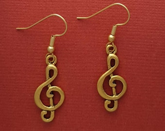 Treble Clef Earrings Gold Plated Music Note