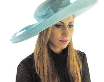 Turquoise Wide Upturned Hat for Kentucky Derby, Weddings Other Colours Too