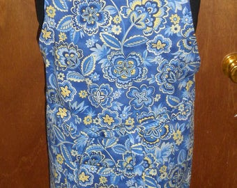 Simply Sheila adult apron blue white yellow cotton print extra long ties adjustable neck tie