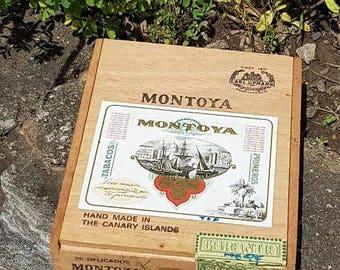 Vintage Montoya Wooden Cigar Box Canary Islands
