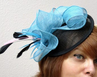 Fascinator hat Kentucky derby fascinator black blue wedding fascinator LOVE