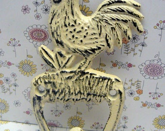 Rooster Shabby Elegance Cast Iron Off White Cream Pet Leash Key Jewelry Hand Towel Hook Rustic French Country Kitchen Mudroom Farmhouse