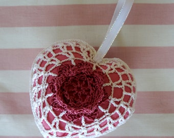 Crochet Heart Decoration Hanging Handmade Rustic Pink Fabric Insert Shabby Chic Valentines Day Friend Love Token