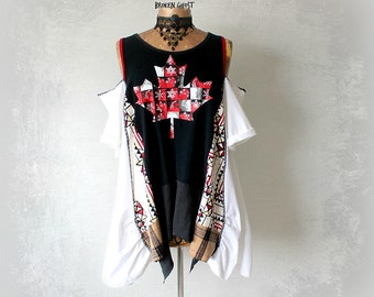 Open Shoulder Top Women's Art Clothes Recycle T-Shirt Black Boho Shirt Gypsy Chic Clothing Loose A-Line Tunic Funky Unusual  L XL 'JOCELYN'