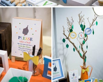 Little Man Party Decorations, ABC Party, Little Man Birthday Party Decor, Custom Silhouette, ABC Alphabet, Bowtie