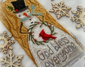 Cardinal Bird Winter Wreath Snowman God Bless Everyone Punch Needle Embroidery DIGITAL Jpeg PDF PATTERN Michelle Palmer Painting w/Threads