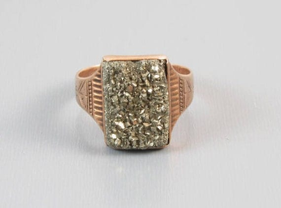 Gents ntique Victorian 10k rose gold pyrite fools gold druzy ring, size 11