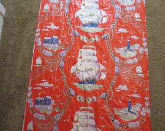 "Vtg Puritan Print Ship Nautical Design Fabric 40s 50s Cotton Dead stock Fabric 15 YARDS x 35"" Nautical Fabric Pirate Fabric Beach house"