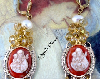 Vintage and New Catholic Western Germany St. Joseph Cameo, Fresh Water Pearls and Natural Carnelian Gemstone Earrings